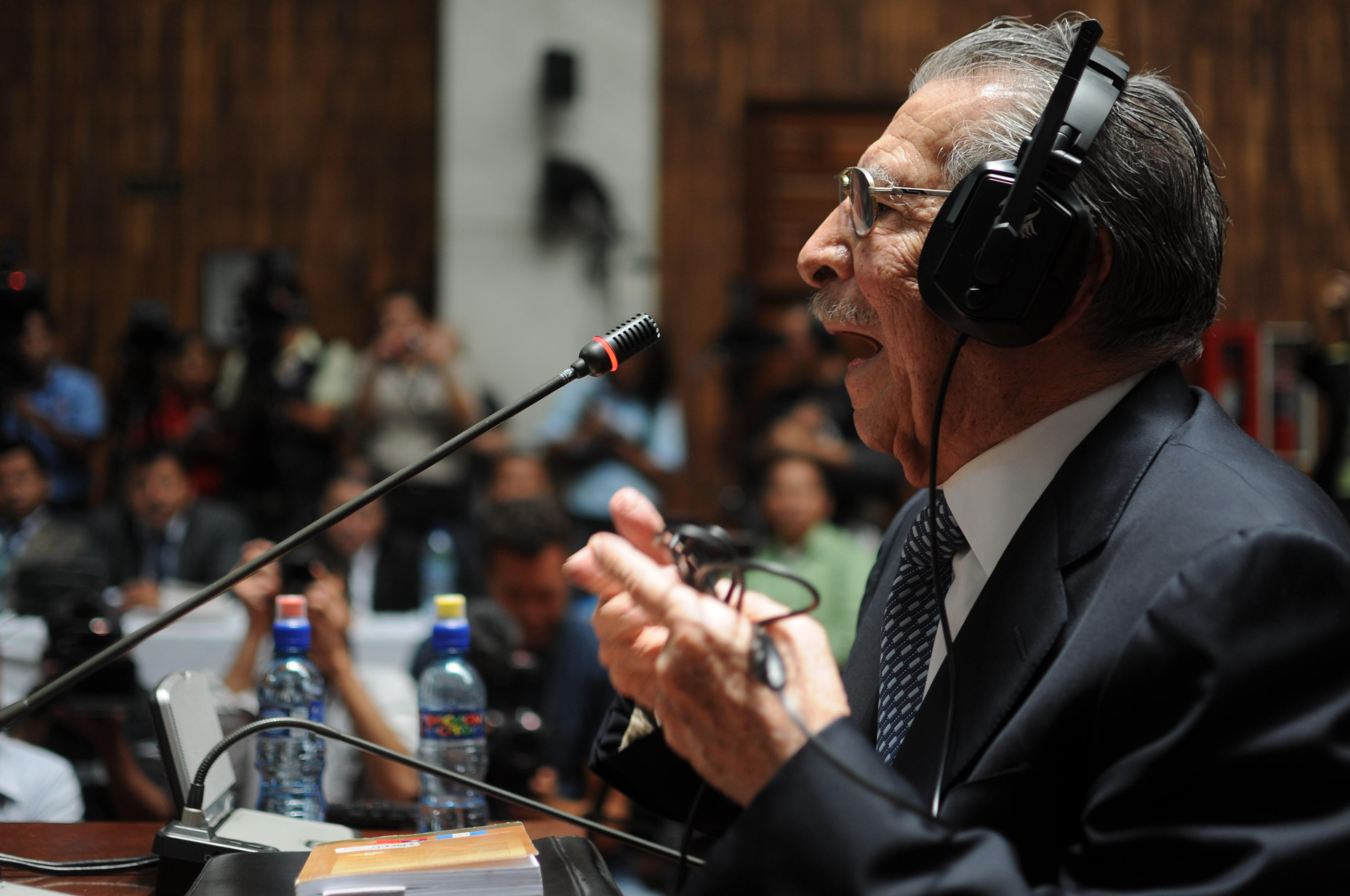 Ríos Montt, durante su declaración por el juicio por genocidio contra el pueblo ixil, en abril de 2013.